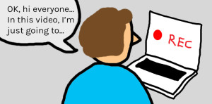 cartoon showing someone making a screencast