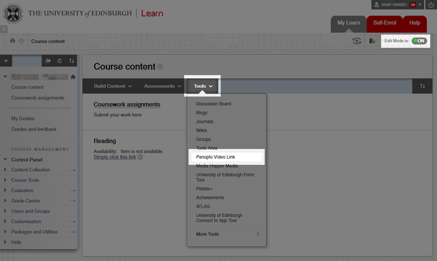 Screenshot showing location of Insert Panopto Link item in Learn menu