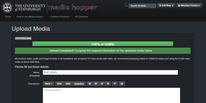 screenshot of the upload media form