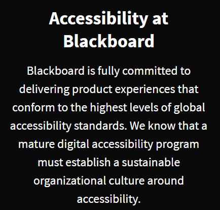 Blackboard accessibility statement