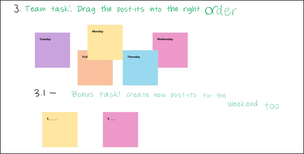 Screenshot displaying a group activity using drag and drop sticky notes
