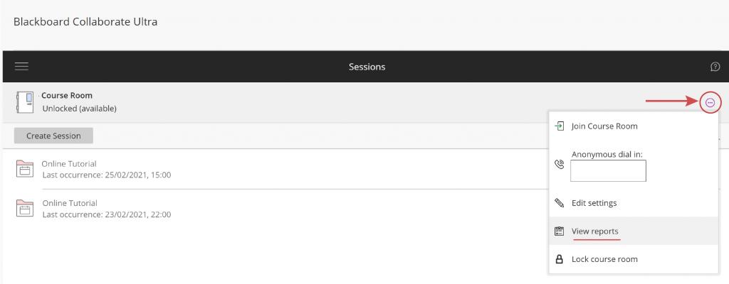 Blackboard Collaborate Ultra select 'Veiw Reports' button