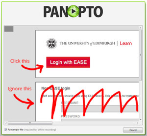 panopto recorder screenshot showing login with ease button