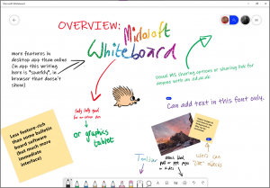 Screenshot showing the features of Microsoft Whiteboard